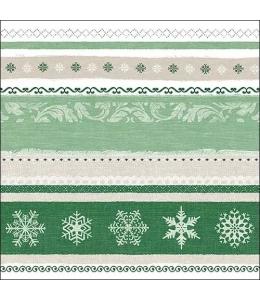 "Салфетка для декупажа ""Бордюр зимний зеленый"", 33х33 см, Ambiente (Голландия)"