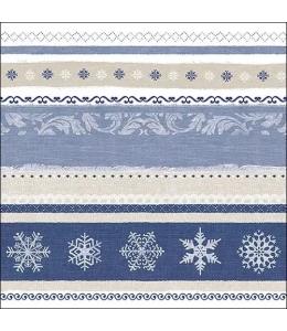 "Салфетка для декупажа ""Бордюр зимний синий"", 33х33 см, Ambiente (Голландия)"