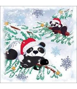 """Салфетка для декупажа """"Рождественские панды"""", 33х33 см, Ambiente (Голландия)"""