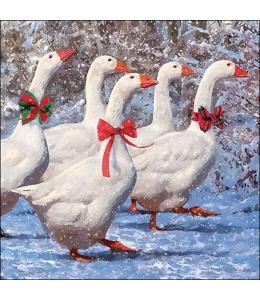 """Салфетка для декупажа """"Новогодние гуси"""", 33х33 см, Ambiente (Голландия)"""
