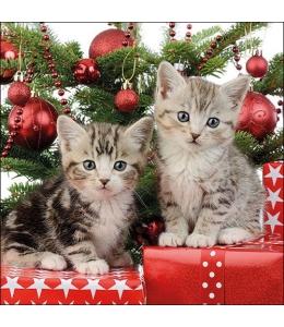 """Салфетка для декупажа """"Рождественские котята"""", 33х33 см, Ambiente (Голландия)"""