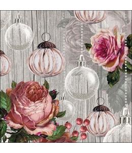"""Салфетка для декупажа """"Розы и шары"""", 33х33 см, Ambiente (Голландия)"""