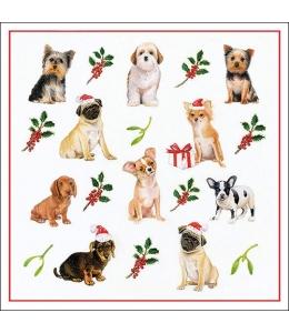 """Салфетка для декупажа """"Рождественские собаки"""", 33х33 см, Ambiente (Голландия)"""