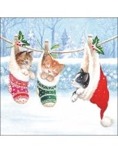 """Салфетка для декупажа """"Котята в зимней сказке"""", 33х33 см, Ambiente (Голландия)"""