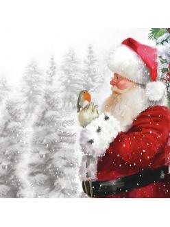 Новогодняя салфетка для декупажа Санта и малиновка, 33х33 см, Ambiente Голландия