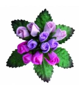 """Букетик бумажных цветочков """"Розы лиловые и сиреневые"""", 12 шт"""