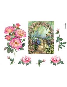 Рисовая бумага для декупажа Арка с розами, А4 АртДекупаж Россия