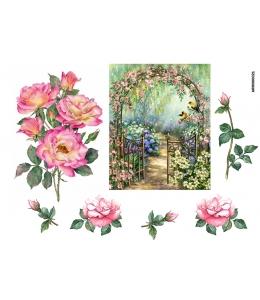 Рисовая бумага для декупажа Арка с розами, А4 Россия