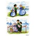 Рисовая бумага для декупажа Голландия, девочки с тюльпанами, А4 АртДекупаж Россия