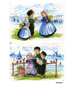 Рисовая бумага для декупажа Голландия, девочки с тюльпанами, А4 Россия