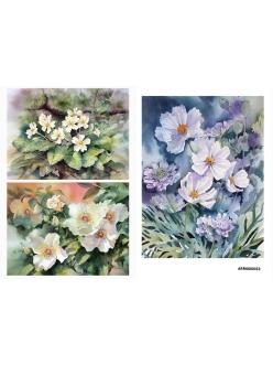Рисовая бумага для декупажа Нежные цветы, акварель, А4 АртДекупаж