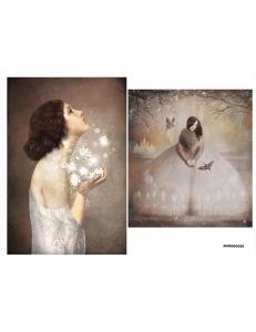 Рисовая бумага для декупажа Женщина и цветы, А4 АртДекупаж Россия