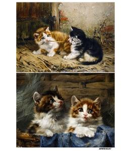 Рисовая бумага для декупажа Два котенка, А4 Россия
