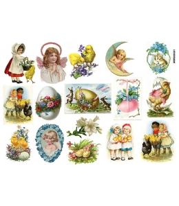 Рисовая бумага для декупажа Пасхальные детки, А4 Россия