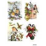 Рисовая бумага для декупажа Новогодние птицы А4, АртДекупаж Россия