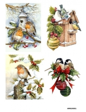 Рисовая бумага для декупажа Новогодние птицы А4, Россия