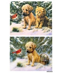 Рисовая бумага для декупажа Котенок и щенок, А4 Россия