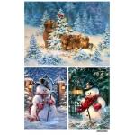 Рисовая бумага для декупажа Медвежата и снеговик, А4 АртДекупаж Россия