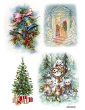 Рисовая бумага для декупажа Рождественские колокольчики, А4 Россия