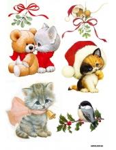 Рисовая бумага для декупажа Рождественский котенок, А4 Россия