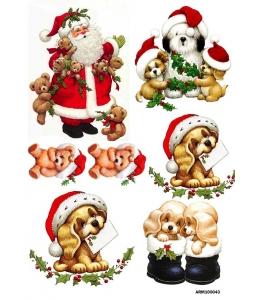 Рисовая бумага для декупажа Санта, собаки и медвежата, А4 Россия
