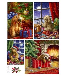 Рисовая бумага для декупажа Рождественские собаки, А4 Россия