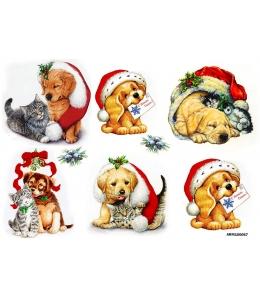 Рисовая бумага для декупажа Рождественские щенки и котята, А4 Россия