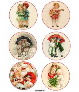 Рисовая бумага для декупажа Рождественские дети и Санта, А4 Россия
