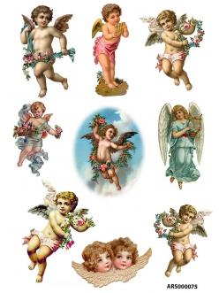 Рисовая бумага для декупажа Ангелы с цветами формат А5, А4 АртДекупаж