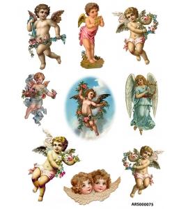 Рисовая бумага для декупажа Ангелы с цветами А5, Россия