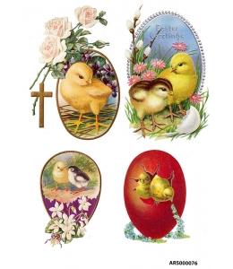 Рисовая бумага для декупажа Пасхальные цыплята А5, Россия