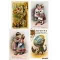 Рисовая бумага для декупажа Пасхальные открытки с детьми А5, АртДекупаж Россия