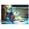 Рисовая бумага для декупажа Новогодние фонарики и кошка формат А5, АртДекупаж Россия