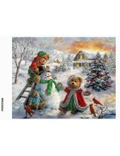 Рисовая бумага для декупажа Снеговик и мишки, формат А5, АртДекупаж Россия