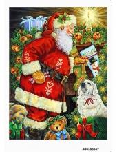 Рисовая бумага для декупажа Санта и собака, формат А5, Россия