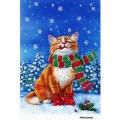 Рисовая бумага для декупажа Новогодний кот в шарфе, формат А5, АртДекупаж Россия