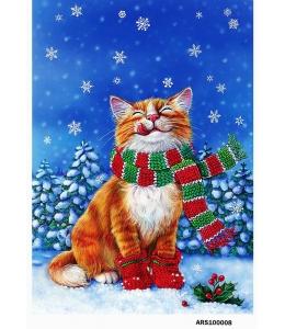 Рисовая бумага для декупажа Новогодний кот в шарфе, формат А5, Россия