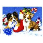 Рисовая бумага для декупажа Новогодние собаки формат А5, АртДекупаж Россия