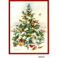 Рисовая бумага для декупажа Новогодняя елка и  птицы формат А5, АртДекупаж Россия