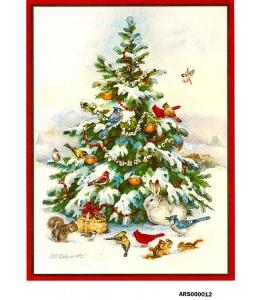 Рисовая бумага для декупажа Новогодняя елка и  птицы формат А5, Россия