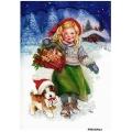 Рисовая бумага для декупажа Рождество, девочка и щенок формат А5, АртДекупаж Россия