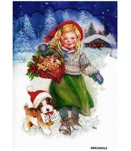 Рисовая бумага для декупажа Рождество, девочка и щенок формат А5, Россия