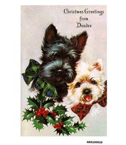 Рисовая бумага для декупажа Новогодние собаки, черная и белая, формат А5, Россия