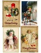 Рисовая бумага для декупажа Рождественские винтажные детки формат А5, Россия