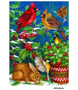 Рисовая бумага для декупажа Зайчик и зимние птицы формат А5, Россия