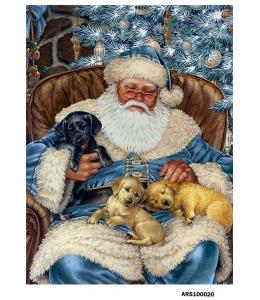 Рисовая бумага для декупажа Санта и щенки, формат А5, Россия