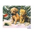 Рисовая бумага для декупажа Щенок, котенок и птичка формат А5, АртДекупаж Россия