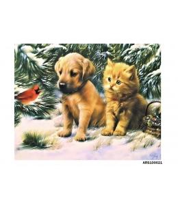 Рисовая бумага для декупажа Щенок, котенок и птичка формат А5, Россия