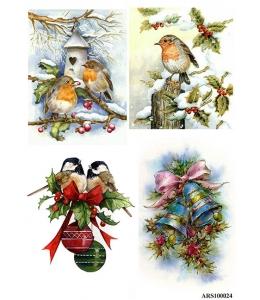 Рисовая бумага для декупажа Зимние птицы формат А5, Россия