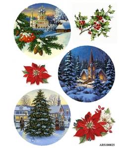 Рисовая бумага для декупажа Рождественское настроение, формат А5, Россия